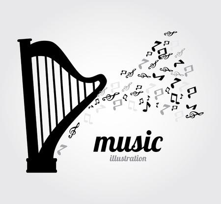 Music design  gray over background,vector illustration