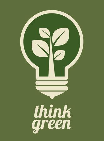 Bulb design over green background, vector illustration