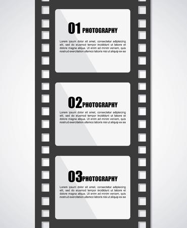 photographic film: Film design over gray background, vector illustration