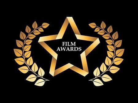 gold record: Film design over black background, vector illustration