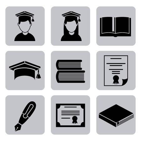 graduacion de universidad: Diseño de la graduación sobre backgrorund blanco, ilustración vectorial Vectores