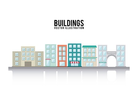 urbanisierung: Geb�ude-Design auf wei�em Hintergrund, Vektor-Illustration
