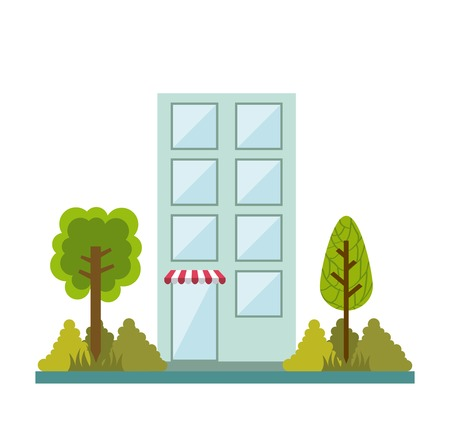 urbanization: Buildings design over white background, vector illustration Illustration