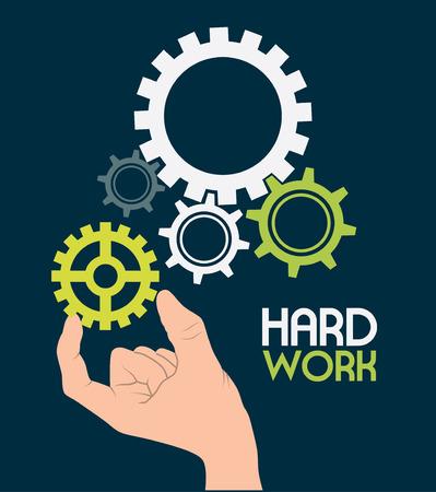 gearshift: Hard work design over blue background, vector illustration
