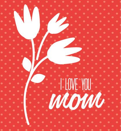 Mothers day design over red dotted background, vector illustration Illustration