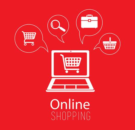 Koop online ontwerp over rode achtergrond, vectorillustratie