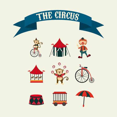 cirque: Disegno Circo su sfondo beige, illustrazione vettoriale Vettoriali
