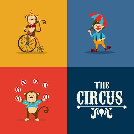 cirque: Disegno circo su sfondo colorato, illustrazione vettoriale