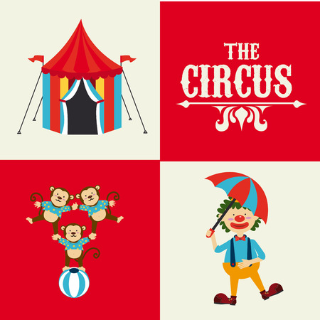 cirque: Circus design over beige and red background, vector illustration