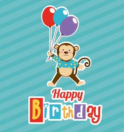 Happy birthday design over blue background,vector illustration Vector