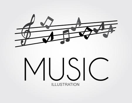 pentagramma musicale: Musica disegno su sfondo grigio, illustrazione vettoriale