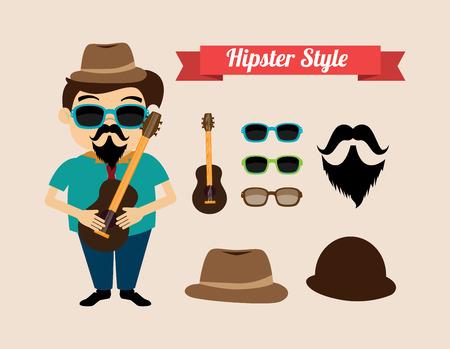 illustation: Hispster design over beige background, vector illustation