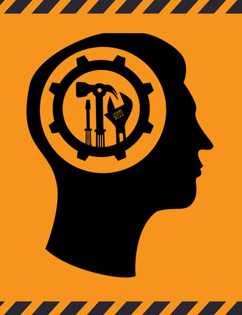 hammer head: Tools design over yellow background, vector illustration