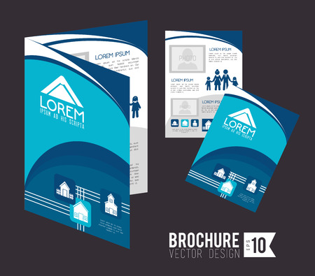 Brochure design over gray background, vector illustration Vector