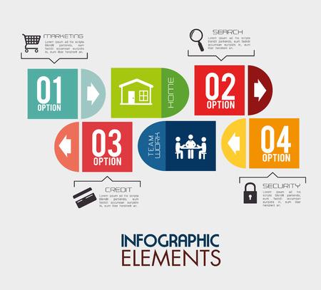 Infographic design over gray backgroud, vector illustration