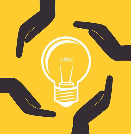 Bulb design over yellow background, vector illustration Illustration