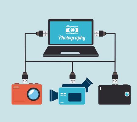 Photography design over blue background, vector illustration Vector