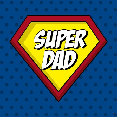 super dad: Fathers day design over blue dotted background, vector illustration Illustration