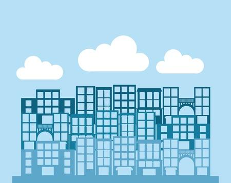 enviromental: El dise�o del edificio sobre fondo azul, ilustraci�n vectorial