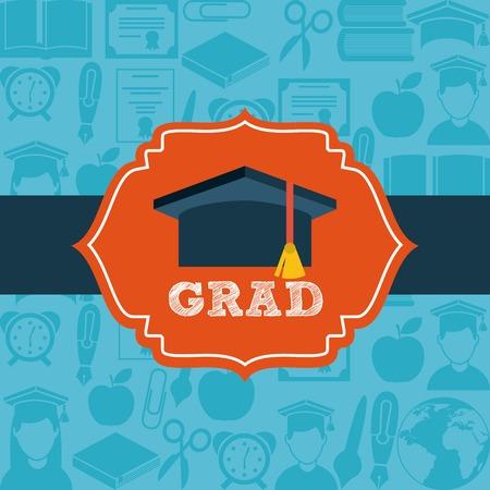 graduation background: Graduation design over blue background, vector illustration