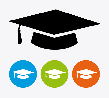 education icon: Graduation design over white background, vector illustration