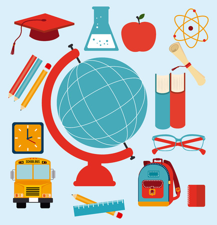 cartoon world: Back to school design over blue background, vector illustration