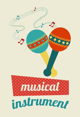 pentagramma musicale: Disegno di musica su sfondo beige, illustrazione vettoriale Vettoriali