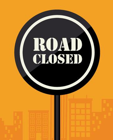 road closed: Advertisign design over orange background ,vector illustration
