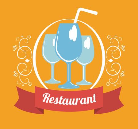 fag: Restaurant design over yellow background, vector illsutration Illustration