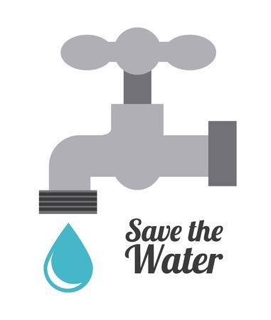 agua grifo: Ecología de diseño sobre fondo blanco, ilustración vectorial Vectores