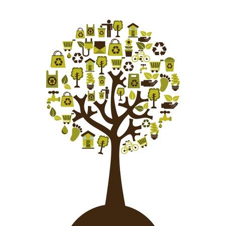 enviromental: Ecolog�a de dise�o sobre fondo blanco, ilustraci�n vectorial Vectores