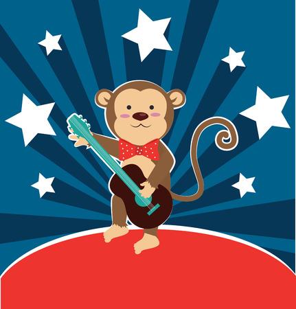 rockstar: Monkey design over blue background, vector illustration