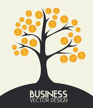 money tree: Money design over beige background, vector illustration Illustration