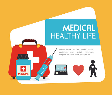Medical design over yellow background, vector illustration Vector