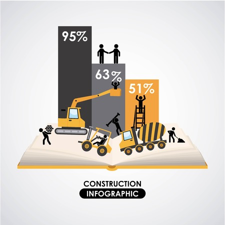 Construction design over gray background, vector illustration Vector