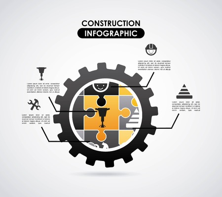 Construction design over gray  background, vector illustration Stock Vector - 27489589