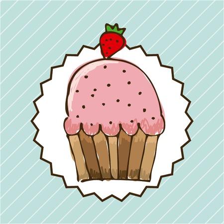 nutritive: Bakery design over blue background, vector illustration Illustration