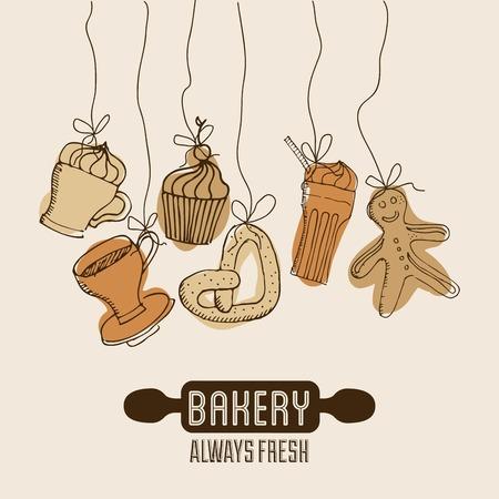 ailment: Bakery design over  background, vector illustration