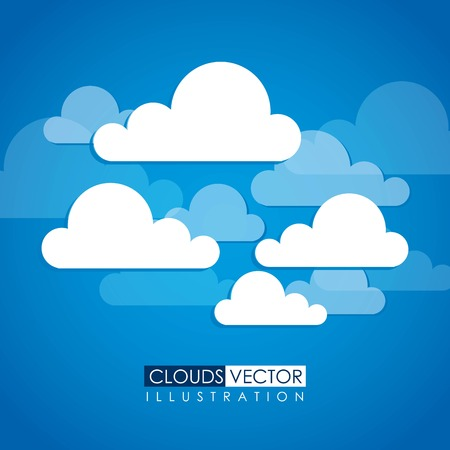 Clouds design over blue background, vector illustration