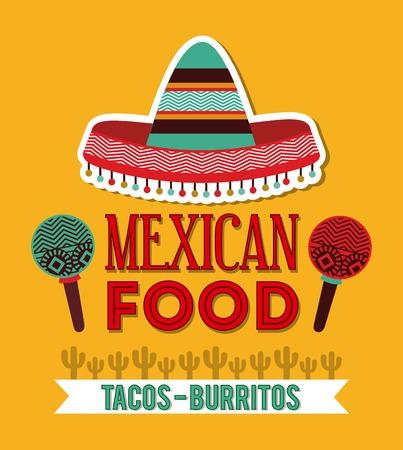 maracas: Mexico design over yellow background, vector illustration