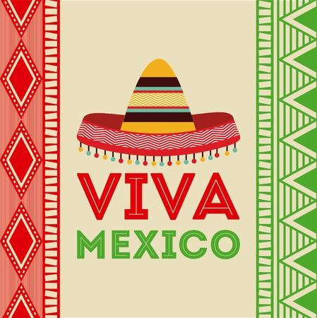 cultura: Diseño de México sobre fondo de colores, ilustración vectorial