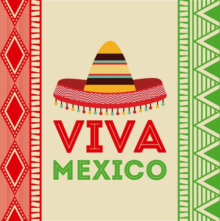 Mexico design over colorful background, vector illustration Çizim