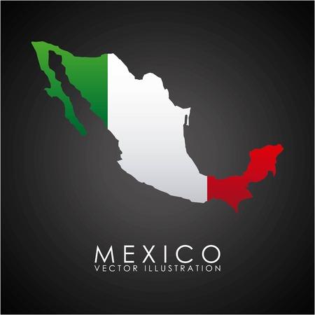 drapeau mexicain: Conception Mexique sur fond noir, illustration vectorielle