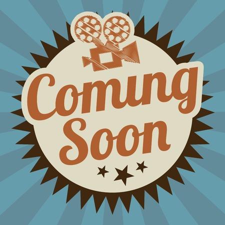 soon: Cinema ontwerp over blauwe strepen achtergrond, vector illustratie