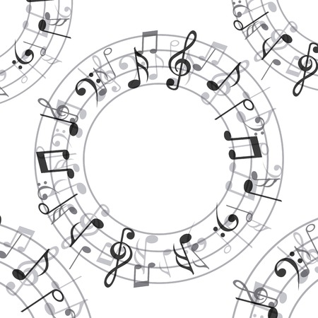 pentagramma musicale: Design di musica su sfondo bianco, illustrazione vettoriale Vettoriali