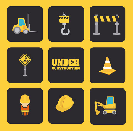 Under construction design over yellow background, vector illustration Stock Vector - 27777943