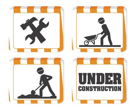 herramientas de construccion: Bajo diseño de la construcción sobre el fondo blanco, ilustración vectorial Vectores