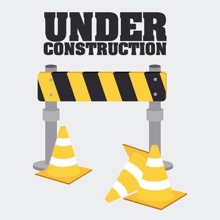 caution tape: Under construction design over gray background, vector illustration