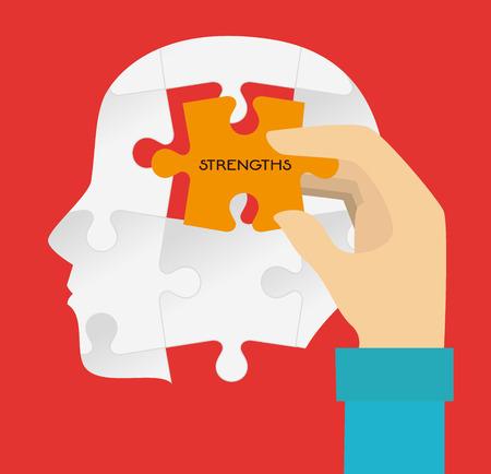 Puzzle design over red background, vector illustration Illustration