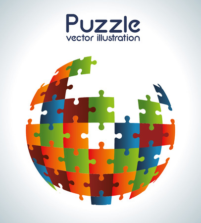 Puzzle design over gray background, vector illustration Vector